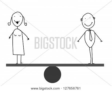 Businessman & businesswoman balances .eps10 editable vector illustration design