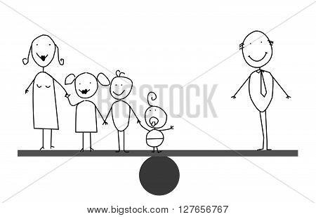 Businessman family balances .eps10 editable vector illustration design