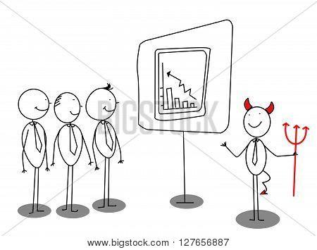 Red devil businessman presentation .eps10 editable vector illustration design