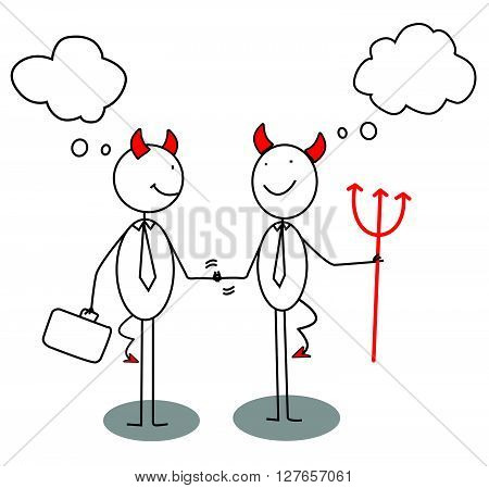 Devil Businessman Shaking Hands .eps10 editable vector illustration design