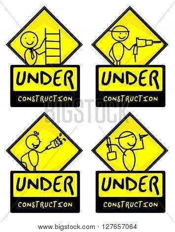 Under Construction sign .eps10 editable vector illustration design