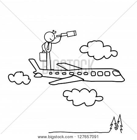 Businessman standing on Airplane and looking for the opportunity .eps10 editable vector illustration design