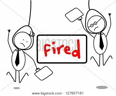 Fired businessman .eps10 editable vector illustration design