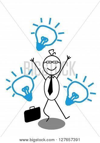 Happy Businessman Idea .eps10 editable vector illustration design