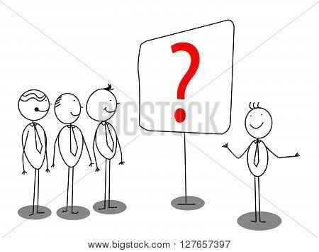 Businessman Presentation about problem .eps10 editable vector illustration design