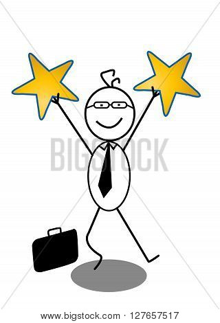 Businessman And Star .eps10 editable vector illustration design