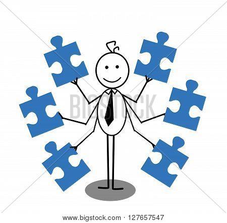 Businessman and Jigsaw .eps10 editable vector illustration design