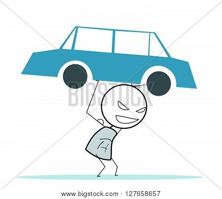 Strong man Car .eps10 editable vector illustration design