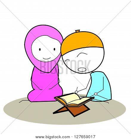 Reading al-qur an .eps10 editable vector illustration design