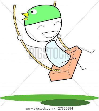 Kid swing .eps10 editable vector illustration design