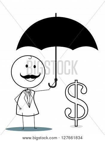 Businessman with umbrella protect investation .eps10 editable vector illustration design