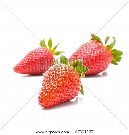 Fresh strawberry isolated on white background in studio