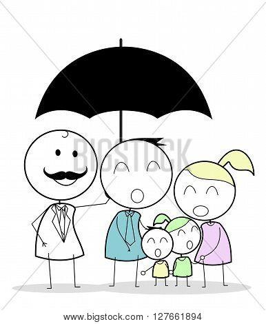 Businessman with family insurance .eps10 editable vector illustration design
