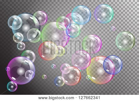 rainbow bubbles on dark transparent background. vector soap water bubbles