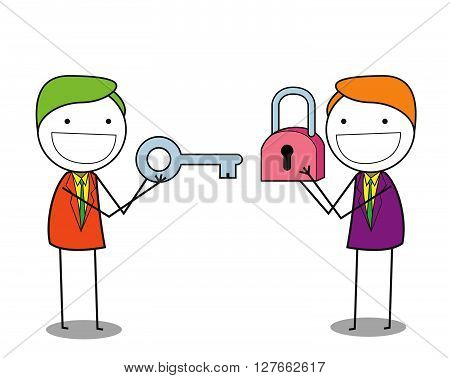 Businessman padlock .eps10 editable vector illustration design