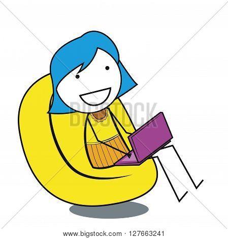 Girl online .eps10 editable vector illustration design