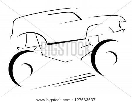Bigfoot Car Symbol .eps10 editable vector illustration design