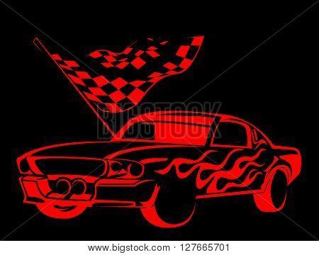 Old Car Race.eps10 editable vector illustration design