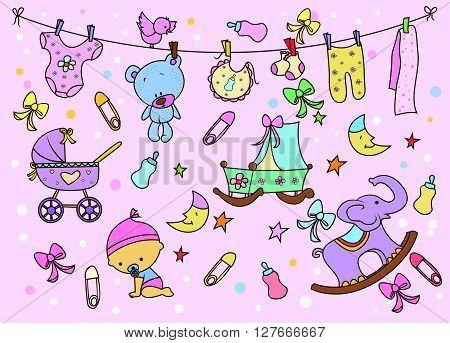 Baby Doodle .eps10 editable vector illustration design