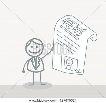 Man Newspaper .eps10 editable vector illustration design