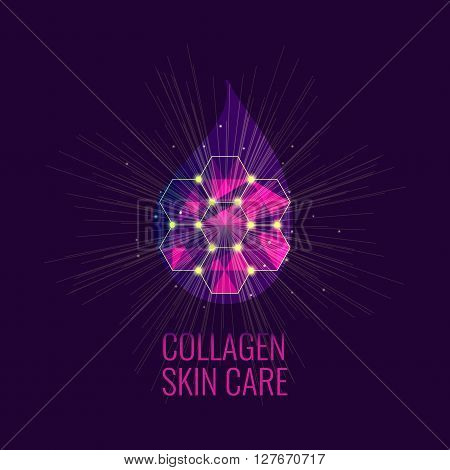 Vector illustration of a collagen drop. Serum skin care product. Collagen drop symbol. Beauty concept. Perfect for beauty massage and spa salons.