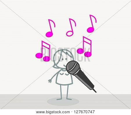 Singer Woman .eps10 editable vector illustration design