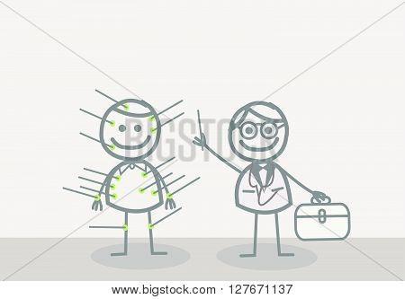 Doodle : acupuncturist.eps10 editable vector illustration design