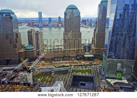 Aerial View Of National September 11 Memorial Of Financial District