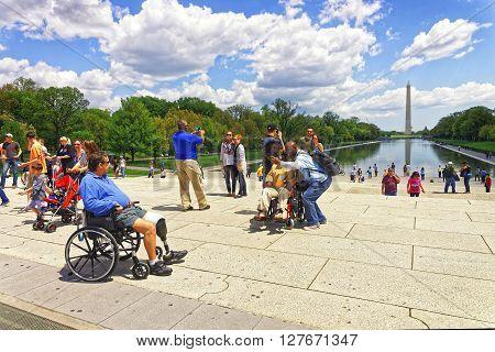 War Veteran At Lincoln Memorial Reflecting Pool