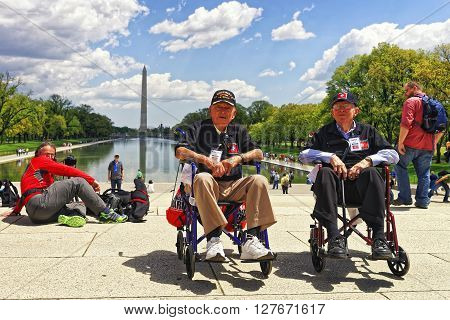 War Veterans At Lincoln Memorial Reflecting Pool