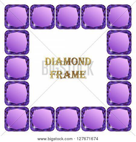 Diamonds square frame. Vector illustration jewerly. Abstract diamond vector. Diamond border