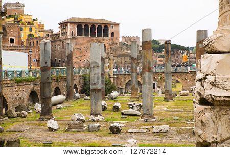 ROME, ITALY - APRIL 8, 2016: Emperor Trajan Forum 106-112 AD, measuring 300 metres (980 feet) long and 185 metres (607 feet) wide