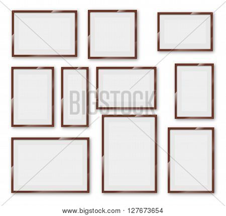 Different sizes and A4, B4, C4 proportion  wooden frames on a white background with thick borders. Vector Illustration set