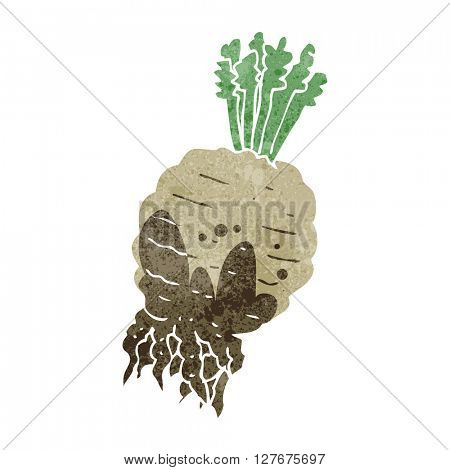freehand drawn retro cartoon muddy turnip
