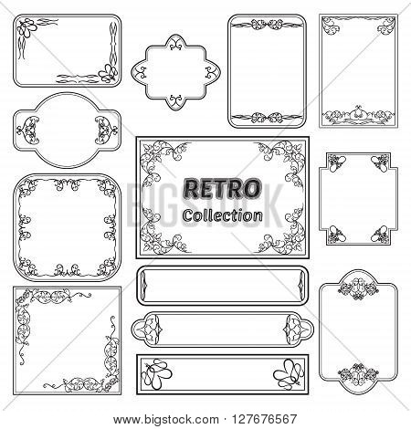 Collection of vector labels in retro style. For your design and decoration. All layers are separated