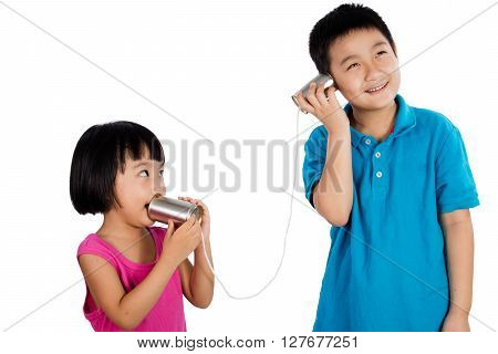 Asian Chinese Kid Playing With Tin Can Phone