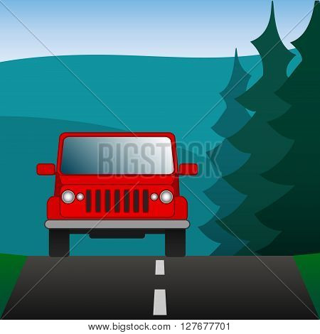 Red car SUV driving on a forest road. Sport utility vehicle on the background of nature. Vector Image.