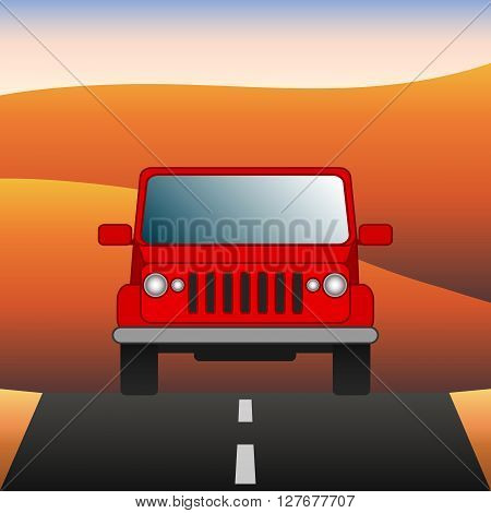 Red car on the road SUV rides through the desert. Sport utility vehicle on the background of desert landscape. Vector Image.