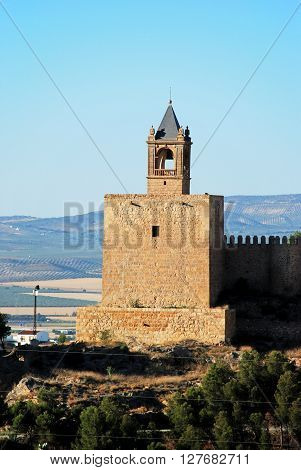 View of the castle fortress bell tower (torre del homenaje) Antequera Malaga Province Andalucia Spain Western Europe.