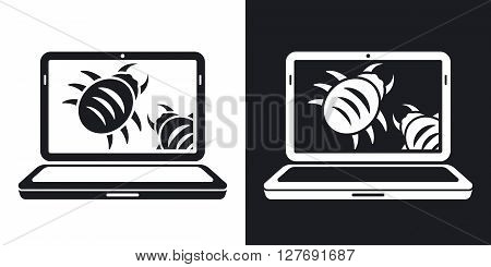Laptop is infected by malware vector illustration. Two-tone version on black and white background