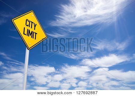 Yellow City Limit Road Sign Close Up. 3d rendering.