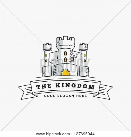 Abstract Vector Kingdom Label, Sign or Logo Template. Fortress Symbol. Castle Icon. Tower Illustration with Flags and Typography in Line Style. Isolated.