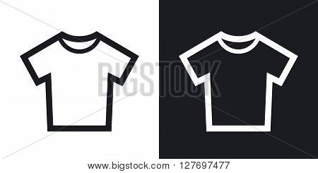 Vector T-shirt icon. Two-tone version on black and white background