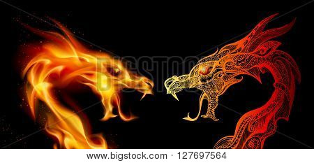 Two Dragon Heads in Fire and Transparent Ornaments