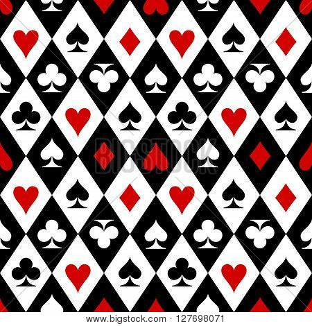 Playing cards suit symbols seamless pattern design