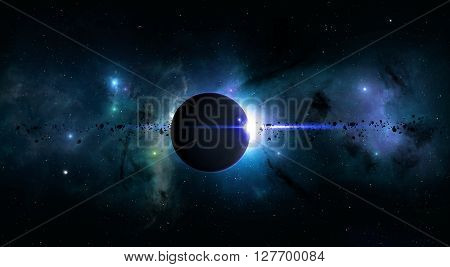 Bright Space Planet Eclipse