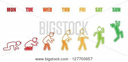 Abstract working life cycle from Monday to Sunday concept in colorful stick figure and battery style on white background