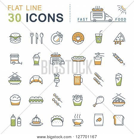 Set vector line icons in flat design fast food and Chinese food with elements for mobile concepts and web apps. Collection modern infographic logo and pictogram.