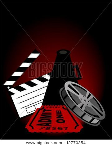 Clapper, Megaphone, Film Reel and Movie Ticket - Vector