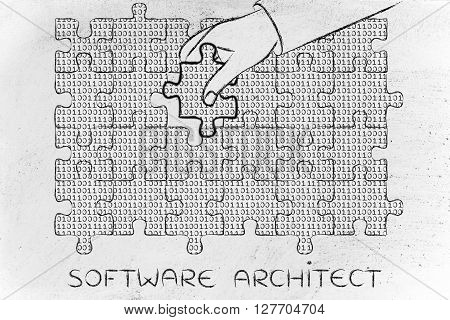 software architect: hand inserting missing piece of jigsaw puzzle with lines of binary code to fill a gap metaphor illustration about software development and fixing bugs poster